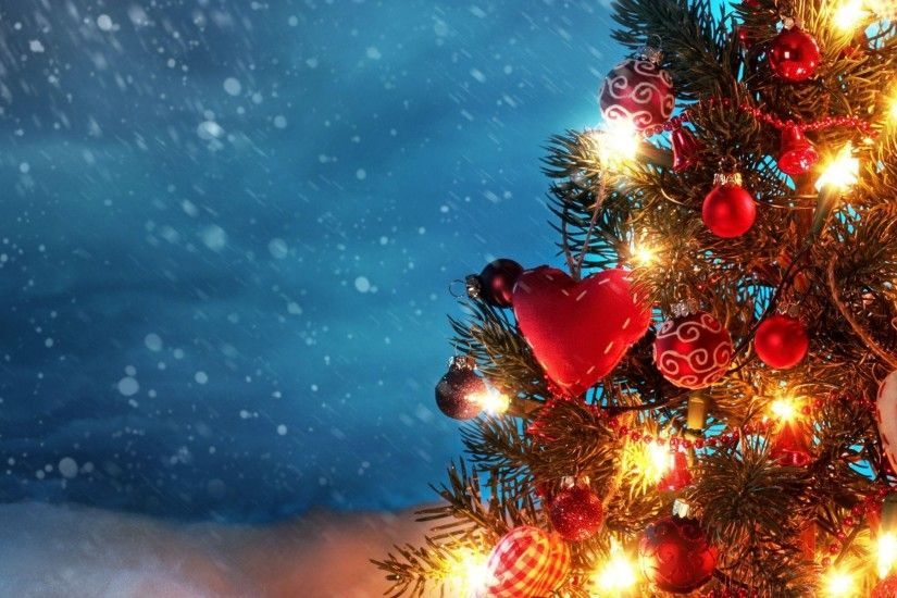 3840x1200 Wallpaper tree, new year, christmas, snow, holiday, night, garland