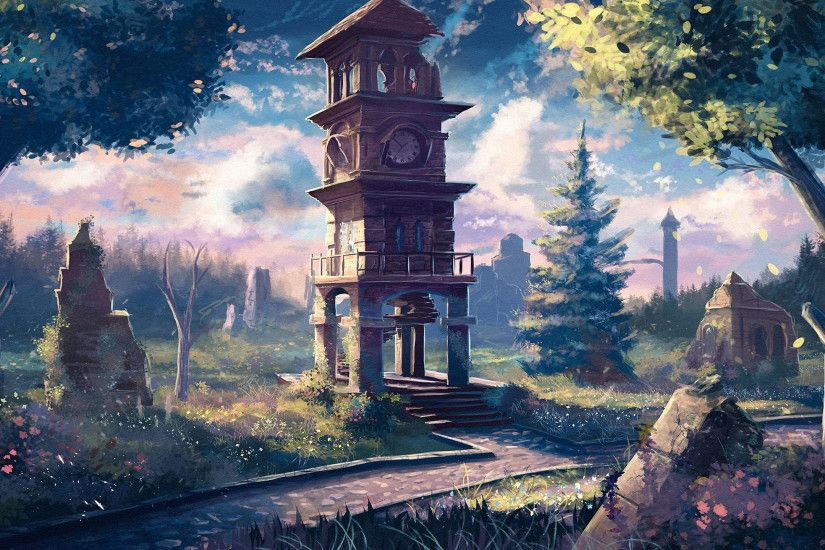 Free Old Clock Tower Anime, computer desktop hd wallpapers, pictures, images