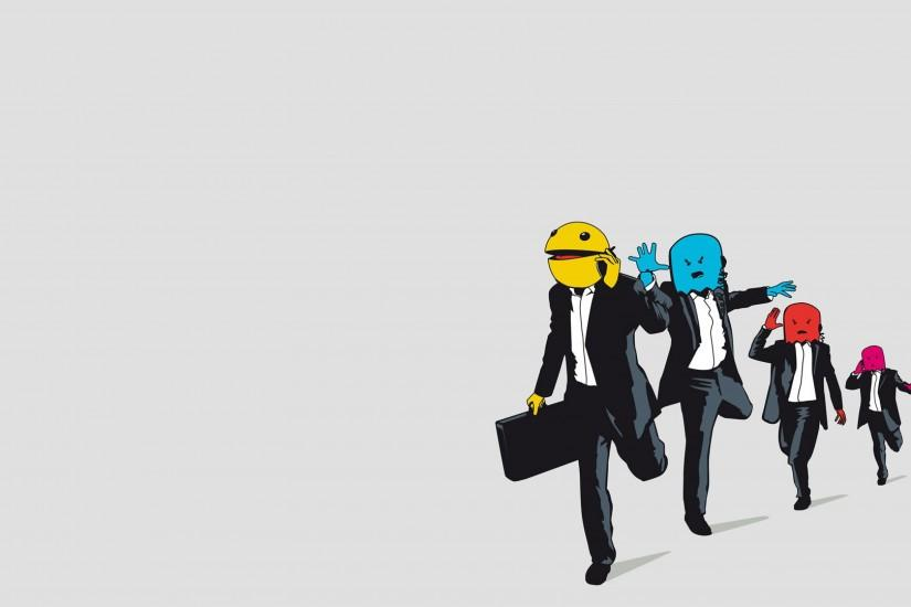 3840x2160 Wallpaper pac-man, monsters, vector, suits, jogging