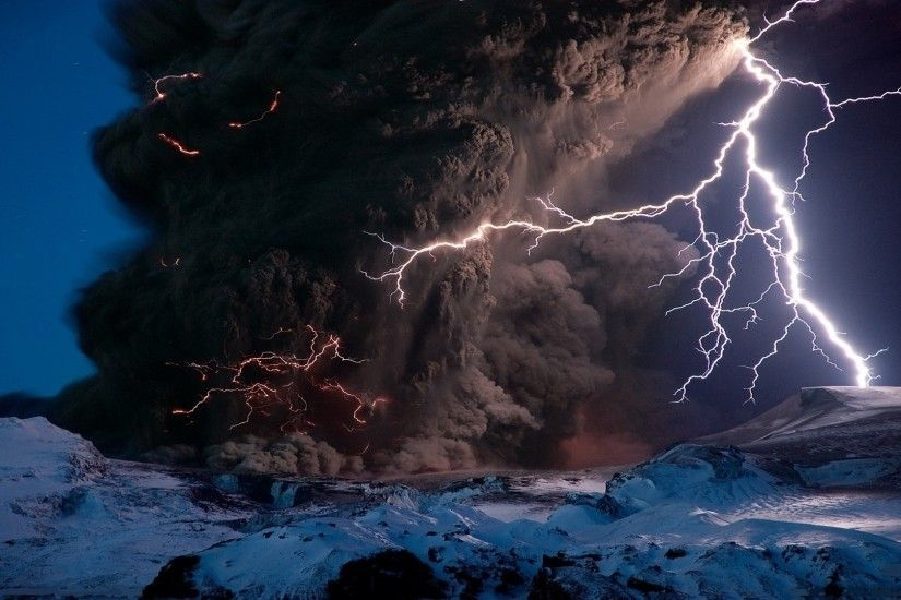 apocalyptic storm over the volcano beauty of lightning