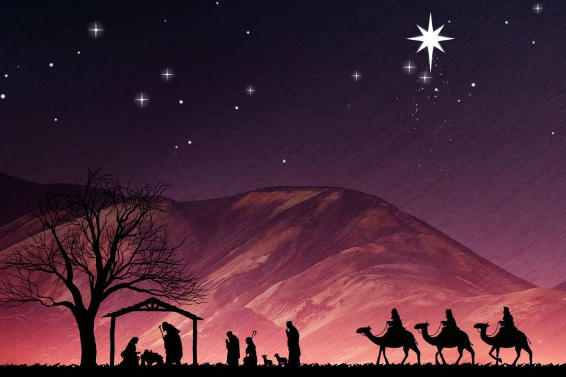 Christmas Nativity Scene. Shepherds Wise Me And Large Bethlehem Star Motion  Background - VideoBlocks