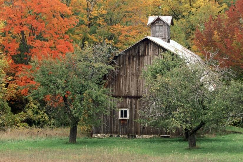 Rustic Barns Wallpaper