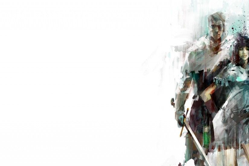 Preview wallpaper guild wars 2, man, female, graphics, name 2560x1080