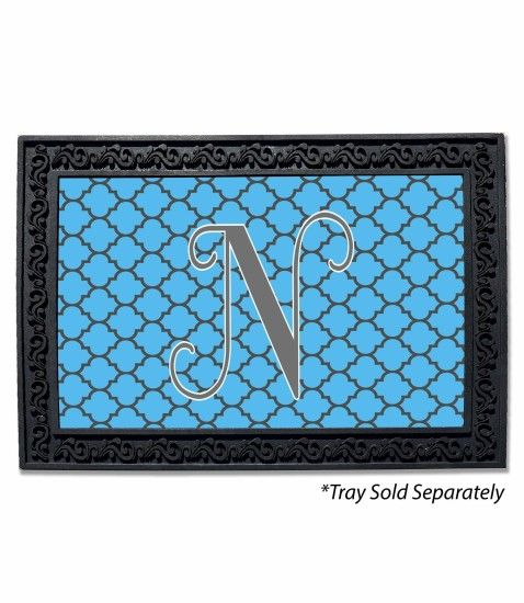 Quatrefoil Solid Background Monogram Doormat 1