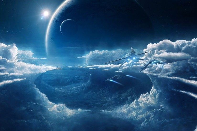 clouds, Space, Ship, Blue, Spaceship Wallpapers HD / Desktop and Mobile  Backgrounds