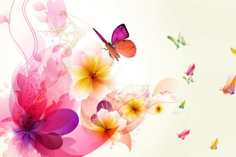 COLORFUL BUTTERFLIES ON FLOWERS WALLPAPER. |DOWNLOAD|