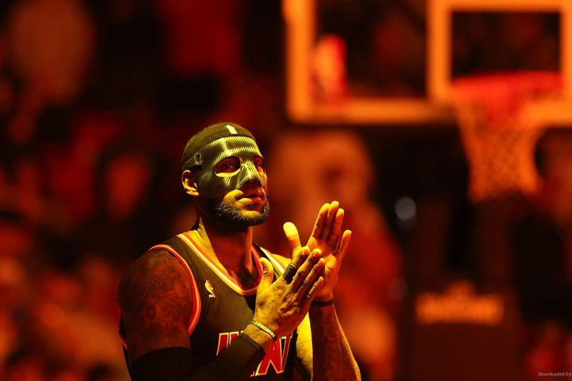 HD LeBron James In A Mask Under The Red Light wallpaper