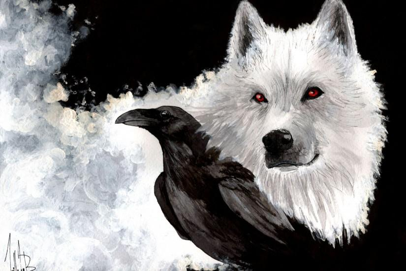game of thrones snow ghost wolf white view raven beak painting art