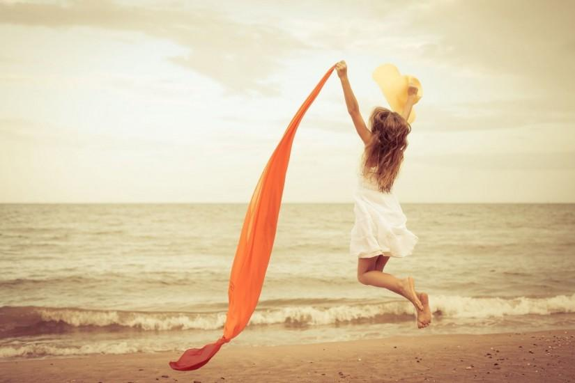 mood girl jump happiness dress shawl sand beach sea river water happiness fun  background girl nature