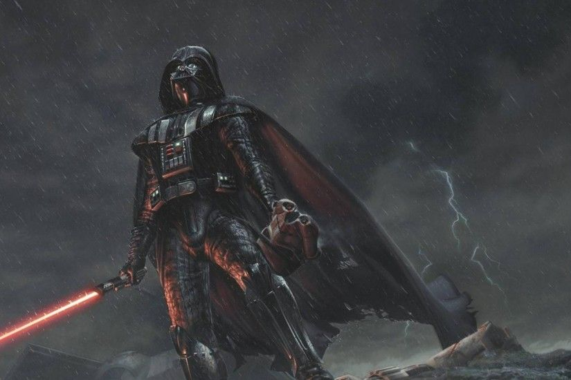 Preview wallpaper star wars, darth vader, art, rain 2560x1080