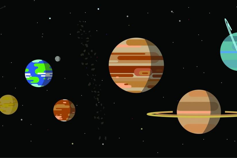 Kurzgesagt inspired solar system [Xpost r/space] ...