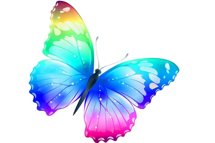Colorful Rainbow Butterfly Wallpaper Hd For Desktop Free Download ...