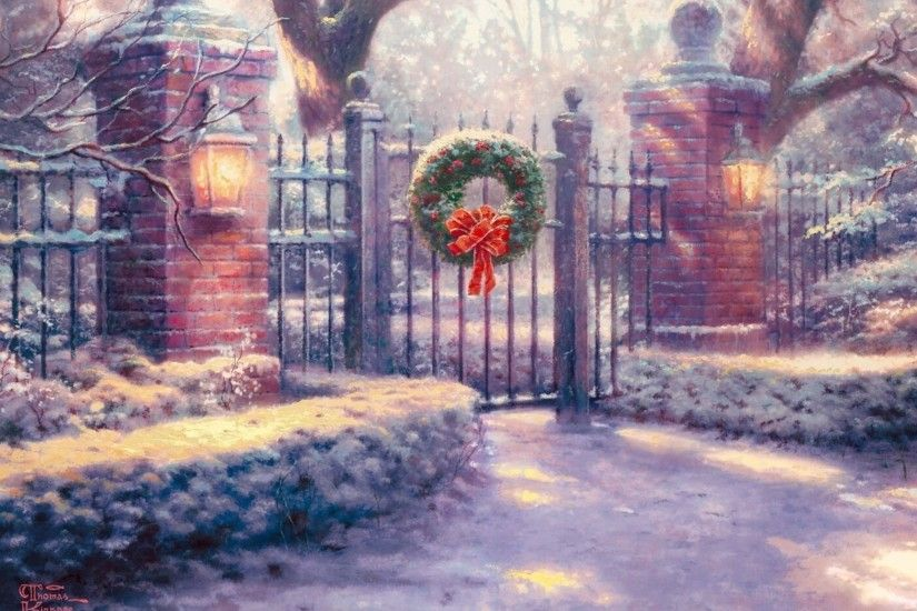 Wallpaper thomas kinkade, christmas gate, painting, thomas kinkade .