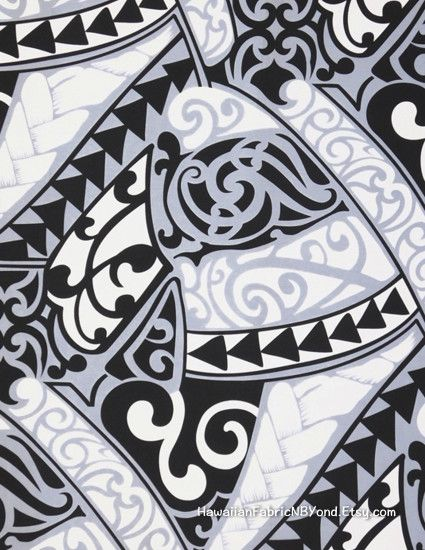 Fabric: Polynesian tribal tattoo fabric. Lavalava Aloha shits fabric. By  HawaiianFabricNBYond.Etsy