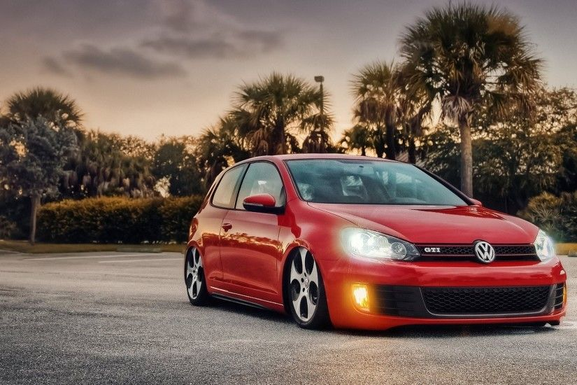 Preview wallpaper volkswagen, bagged, mk6, gti, red, side view 1920x1080