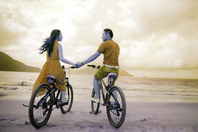 Girl, Boy with Bicycles HD Wallpapers