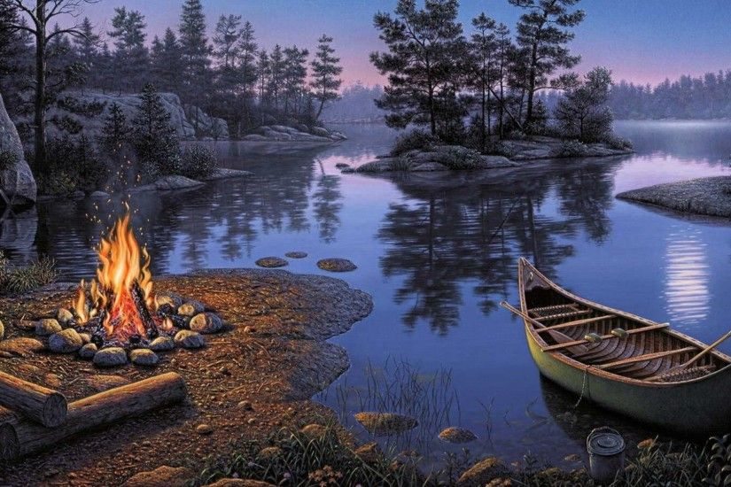1920x1080 Lake Boat Trees Camp Fire Dark