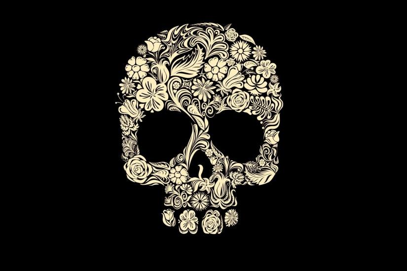 Wallpapers For > Sugar Skull Black Background