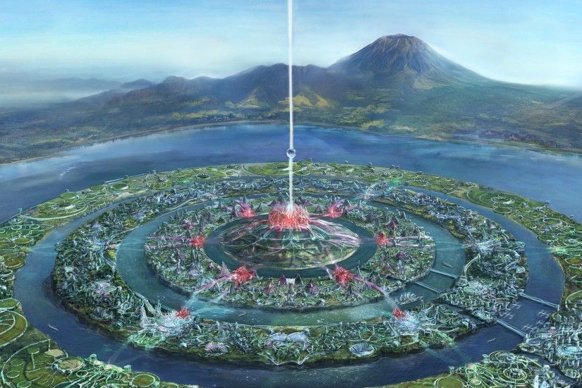 Atlantis Utopian City - Tap to see more future utopian city wallpapers!