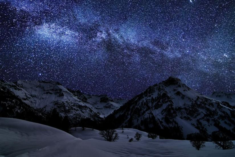 Landscapes Mountains Snow Skies Stars Starry Night Nature Wallpaper ...