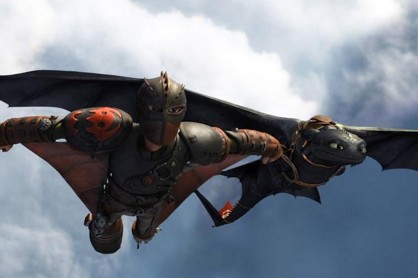 hiccup and toothless / night fury flying in how to train your dragon 2 .