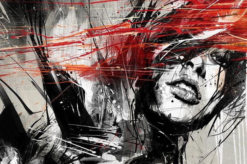 ... Download Black And White And Red Painted Girl Wallpaper Full HD .