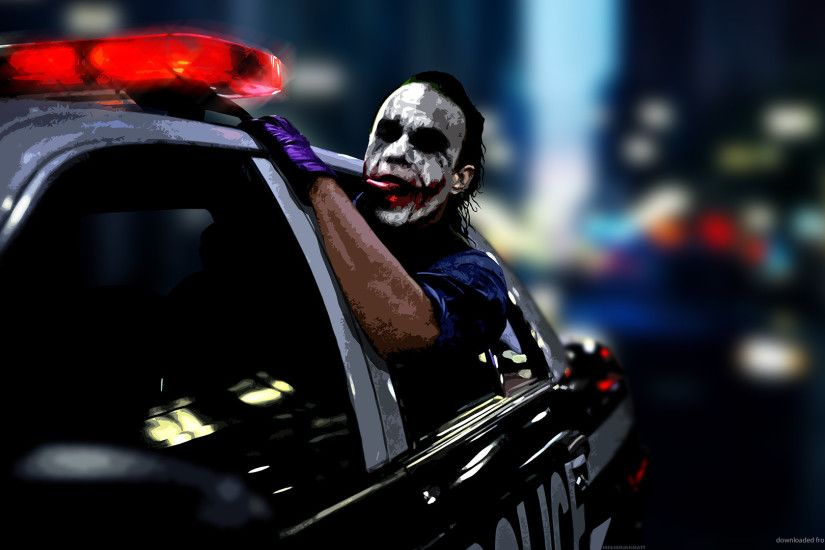 Joker driving in a police car for 1920x1080