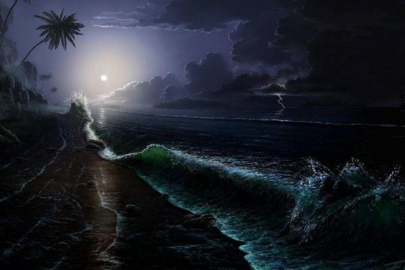 Unrealistic Tag - Beach Moonlight Unrealistic Night HD Images for HD 16:9  High Definition