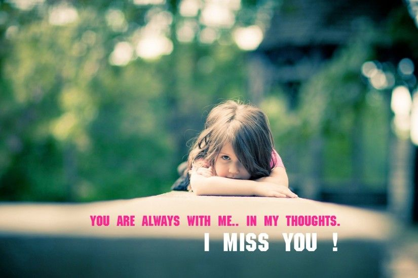 Cute Child Girl Miss You Quote Image