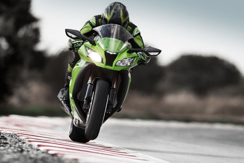 Athlete on a green Kawasaki Ninja