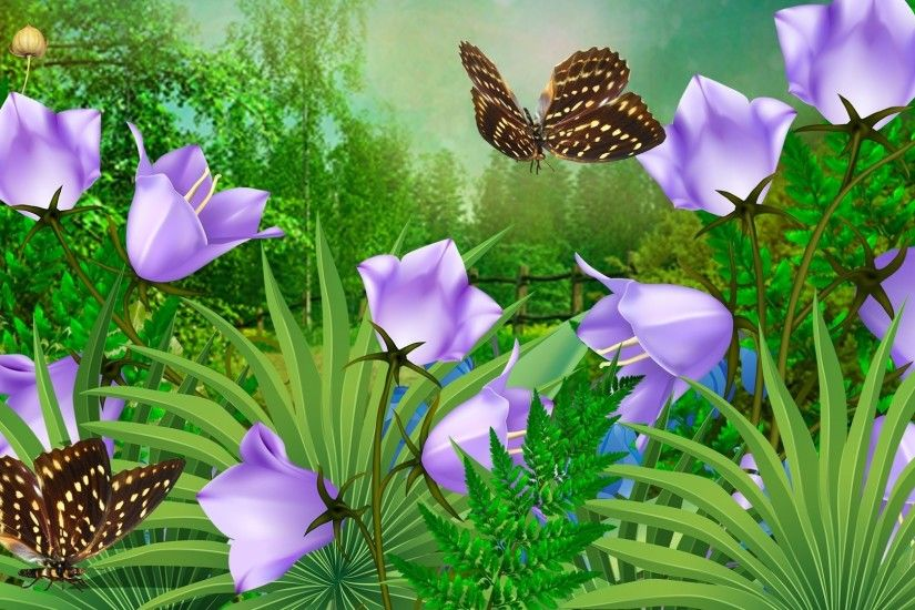 Butterfly Flowers Theme Bluebells Firefox Leaves Blooming Spring  Butterflies Fresh Blossoms Summer Persona Wallpaper Flower Bouquet