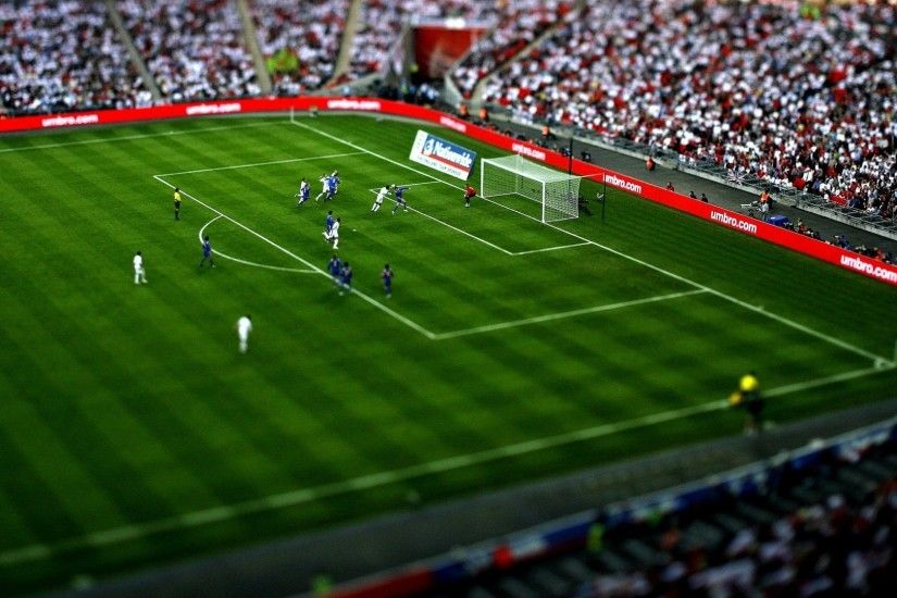 Preview wallpaper football, game, field, tribune, gate, spectators 1920x1080