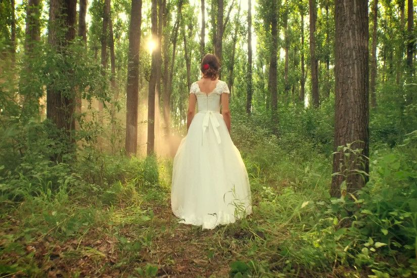 Gorgeous Beautiful Young Female Model Princess Bride Vintage Dress Walking  Through Enchanted Forest Mist At Sunset Beauty Nature Heaven Happiness  Concept ...
