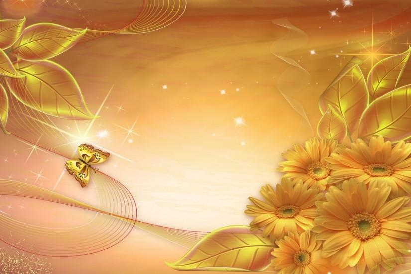 Preview wallpaper gold, background, lines, stars, leaves 1920x1080