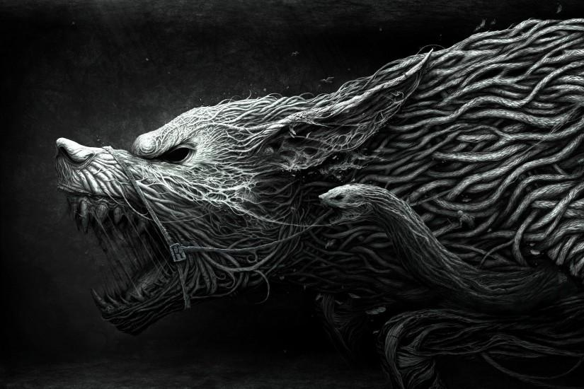 Abstract Art Black and White Wolf Background Hd Wallpapers b