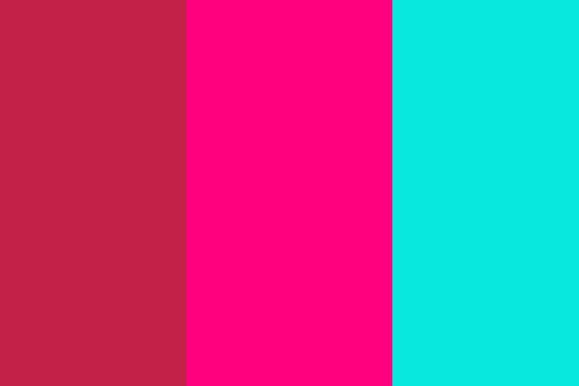 Bright Maroon, Bright Pink and Bright Turquoise Three Color Background .