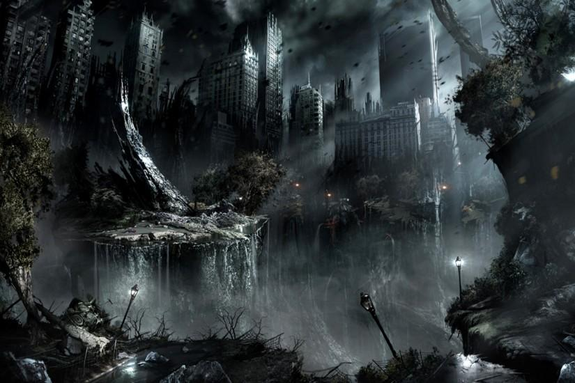 War-Black-Dark-Night-Destruction-Apocalypse-Fantasy-Art-