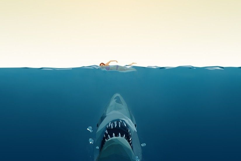 jaws swimming water split view shark Wallpapers HD / Desktop and Mobile  Backgrounds