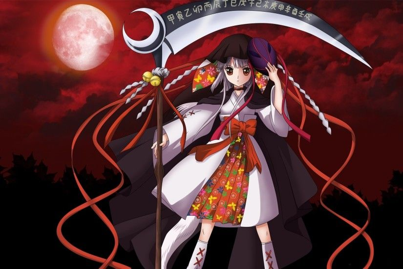 Preview wallpaper ookami kakushi, girl, scythe, moon, red sky 1920x1080