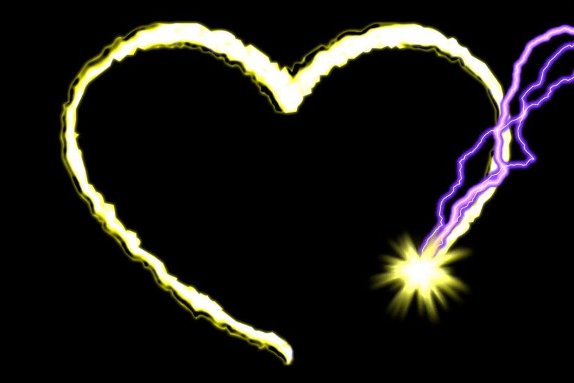 Electric arc draws golden heart shape on black background.2D animation.HD  1080.