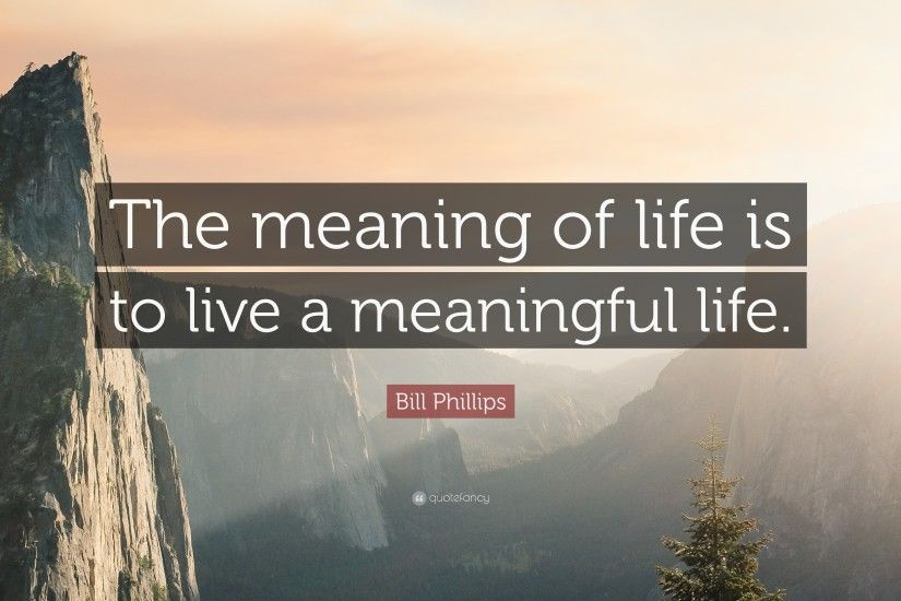 "Bill Phillips Quote: ""The meaning of life is to live a meaningful life."