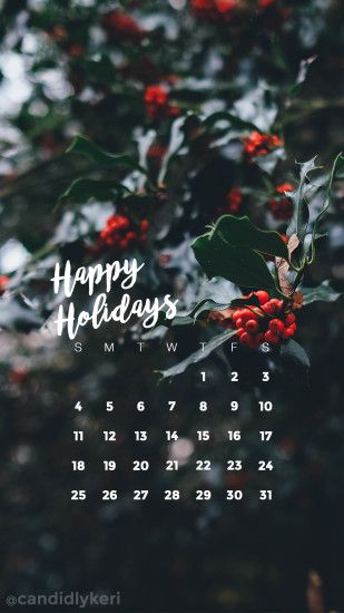 Happy Holiday's holly Christmas festive December calendar 2016 wallpaper  you can download for free on the