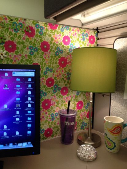 Cute lamp in the corner matches my wrapping paper wallpaper. Cubicle Ideas.  Cubicle Decorations