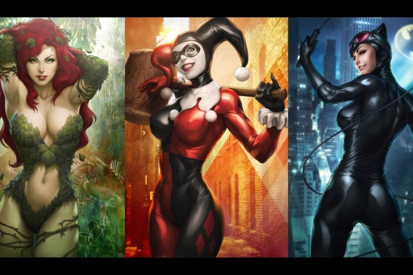 Batman DC Comics cleavage Harley Quinn Catwoman Poison Ivy Artgerm -  Wallpaper (#2724304)