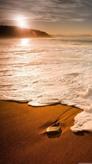 Nature iPhone 6 Plus Wallpapers - Sunset Foamy Beach Wave iPhone 6 Plus HD  Wallpaper