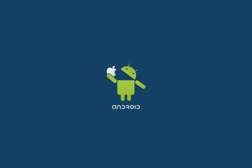 Android Logo Eat Apple Funny Desktop Wallpaper Uploaded by DesktopWalls