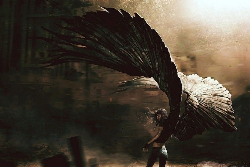1920x1080 Fantasy - Angel Shadow Fantasy Man Black Dark Wings Wallpaper