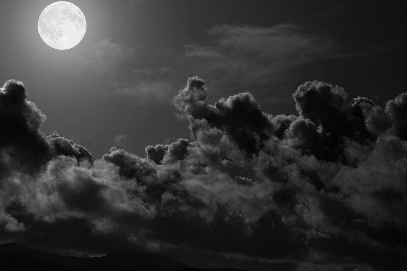 Preview wallpaper moon, clouds, sky, black-and-white 2048x2048
