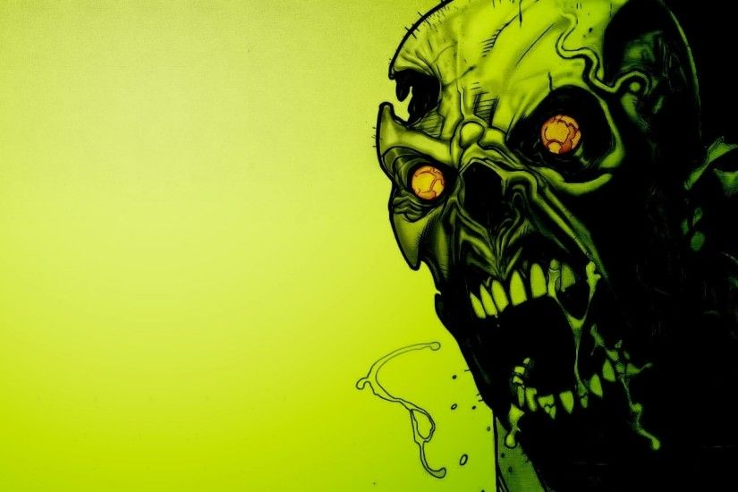 Preview wallpaper zombies, scary, green, eyes, blood 2048x1152