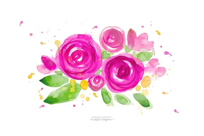 Hot pink illustrated watercolour floral desktop wallpaper background | Desktop  wallpaper | Pinterest | Watercolors, Floral and Hot pink